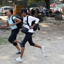 Kisha and Jen Run to the Pit Stop