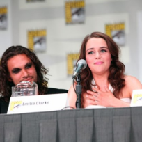 Emilia Clarke and Jason Momoa