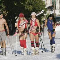 Skiing-in-bikinis