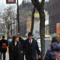 Red and Liz Walk Down the Street