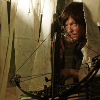 With his crossbow the walking dead