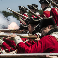 The redcoats fire sons of liberty