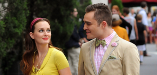 Ed Westwick and Leighton Meester on the Set