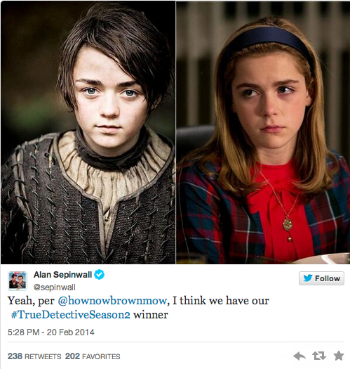 Arya and Sally on True Detective Season 2?