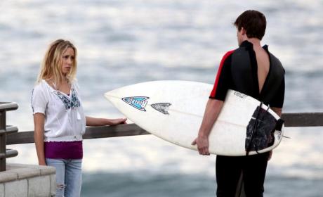 Surfing and Skateboarding: Gillian Zinser and Matt Lanter Film Scenes for 90210