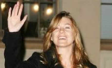 Ellen Pompeo Waves to Fans, Photographers