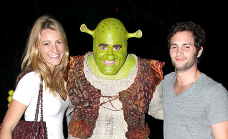 Blake Lively and Penn Badgley Meet Shrek