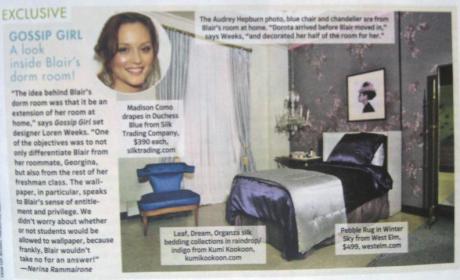 A Look Inside Blair Waldorf's Dorm Room