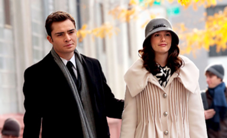 Spotted: Ed Westwick, Leighton Meester on Set