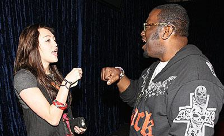 Randy Jackson Greets Miley Cyrus