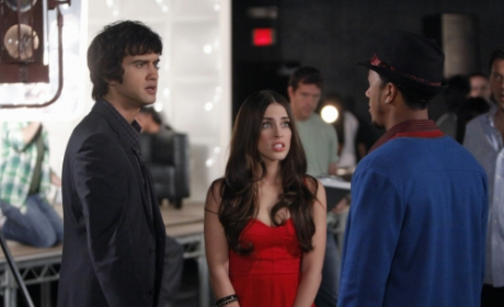 Adrianna and Navid on Set