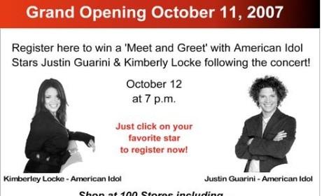 Kimberley Locke and Justin Guarini to Open Texas Mall