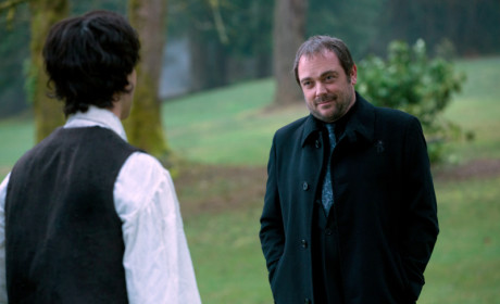 Mark Sheppard as Crowley and Theo Devaney as Gavin