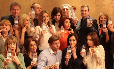 """Downton Abbey Cast Turns """"Water Bottle Gate"""" Into Charitable Photo Op"""