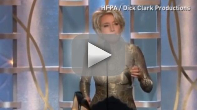 Emma Thompson Presents at Golden Globes