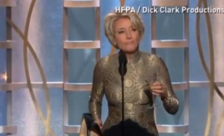 Emma Thompson Presents at Golden Globes