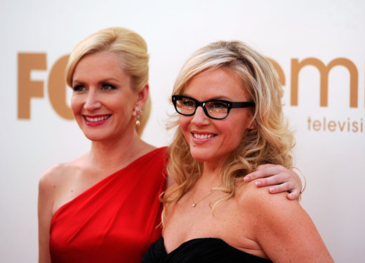 Angela Kinsey and Rachael Harris