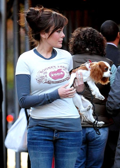 Lindsay Price Walking Her Dog